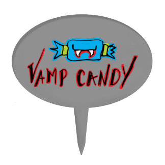 Fun & Spooky Blue Vamp Candy + Text Cake Topper