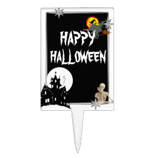 Fun spooky halloween rectangular cake picks