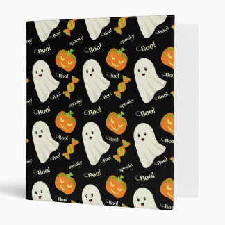 Fun Spooky Halloween Ghost Pumpkin Candy Pattern 3 Ring Binder