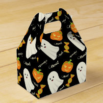 Fun Spooky Halloween Ghost Pumpkin Candy Pattern Favor Box