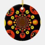 Fun Spooky Halloween Kaleidoscope Pattern Ornaments