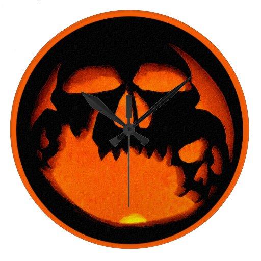 fun spooky halloween pumpkin skull silhouette clock    Halloween Skull Silhouette