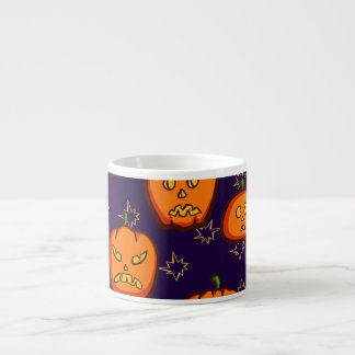 Fun Spooky Halloween Pumpkins on Midnight Blue 6 Oz Ceramic Espresso Cup