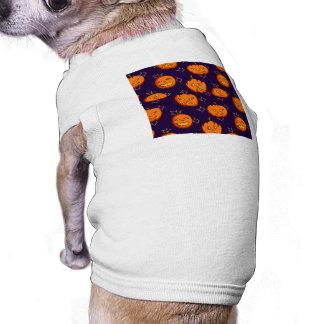Fun Spooky Halloween Pumpkins on Midnight Blue Dog T-shirt
