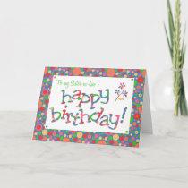 Fun Spots Pattern on Blue Sister-in-law Birthday Card