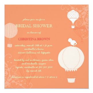 Fun Spring Hot Air Balloons Bridal Shower Card