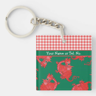 Fun Square Keyring to Personalize: Cute Red Dragon