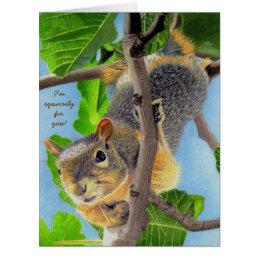 Fun Squirrel in Tree Card