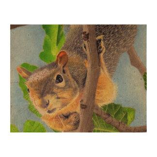 Fun Squirrel in Tree Cork Paper Print