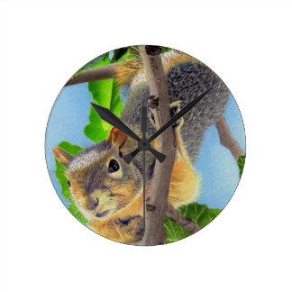 Fun Squirrel in Tree Round Clock