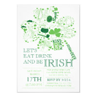 Fun St. Patrick's Day Bash Dinner Party Card