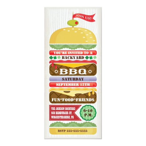 Fun Stacked BBQ Party Invitation