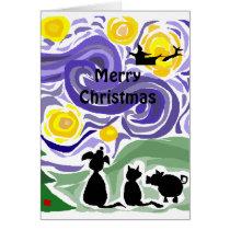 Fun Starry Night Style Christmas Art Card