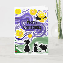 Fun Starry Night Style Christmas Art Holiday Card