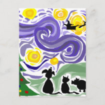Fun Starry Night Style Christmas Art Holiday Postcard
