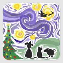 Fun Starry Night Style Christmas Art Square Sticker