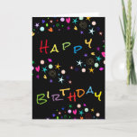 """Fun Stars n Hearts on Black Birthday Greeting Card<br><div class=""""desc"""">Fun birthday greeting for anyone on your birthday card list. See more cards you can personalize at Zigglets here at Zazzle.</div>"""