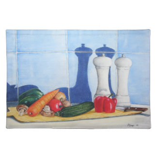 fun still life vegetables on chopping board design placemat