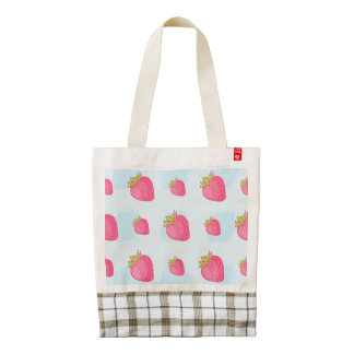 Fun Strawberry Pattern on Blue Zazzle HEART Tote Bag