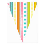 Fun Stripe and Polka Dot Colorful Flag Bunting Post Card