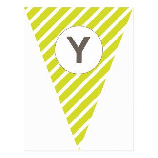 Fun Stripe Lime Green Customizable Flag Bunting Postcard