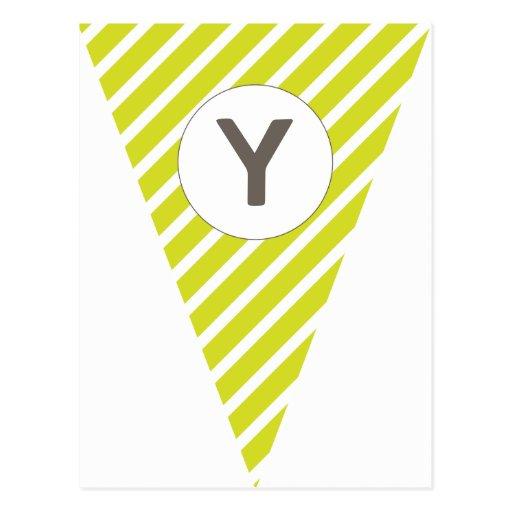 Fun Stripe Lime Green Customizable Flag Bunting Post Card