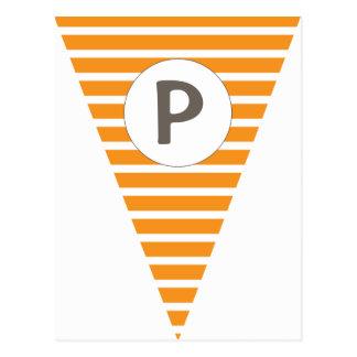 Fun Stripe Orange Customizable Flag Bunting Post Cards