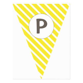 Fun Stripe Yellow Customizable Flag Bunting Postcard