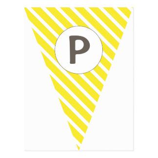 Fun Stripe Yellow Customizable Flag Bunting Postcard