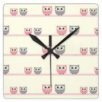 Fun Striped Owls Square Wall Clock