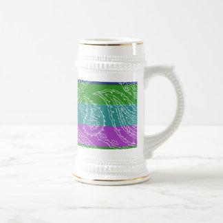 Fun Striped Paisley Print Summer Girly Pattern Beer Stein