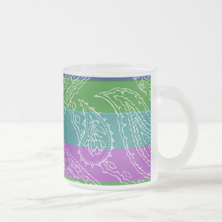 Fun Striped Paisley Print Summer Girly Pattern Frosted Glass Coffee Mug