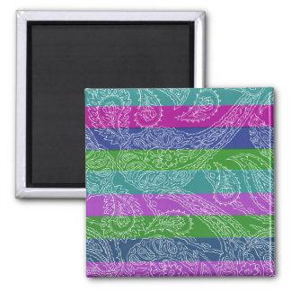 Fun Striped Paisley Print Summer Girly Pattern Refrigerator Magnet