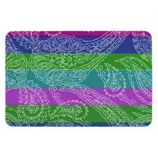 Fun Striped Paisley Print Summer Girly Pattern Rectangular Magnets