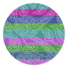 Fun Striped Paisley Print Summer Girly Pattern Round Stickers