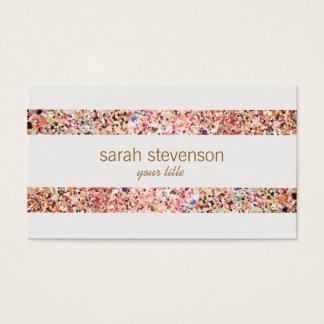 Fun Stripes Colorful Glitter Look Business Card 4