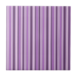 Fun Stripes Pattern in Shades of Purple Small Square Tile