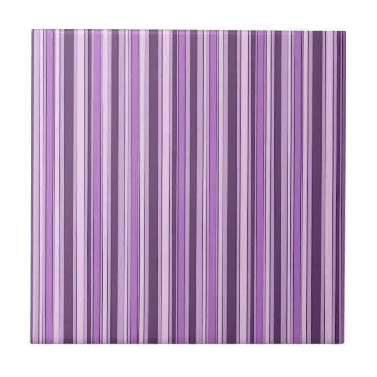 Fun Stripes Pattern in Shades of Purple Tile