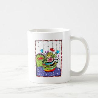 Fun Stripped Pitcher of Flowers Coffee Mug