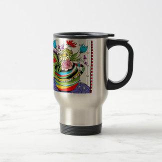 Fun Stripped Pitcher of Flowers Travel Mug