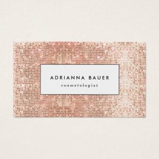 Fun Stylish Faux Copper Sequin Pattern Beauty Spa Business Card