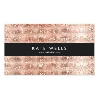 Fun, Stylish Faux Rose Gold Sequin Black Stripe Business Card