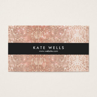Fun Stylish Faux Rose Gold Sequin Black Striped Business Card
