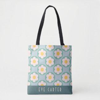 Fun Summer Aqua Blue Floral Print Tote Bag