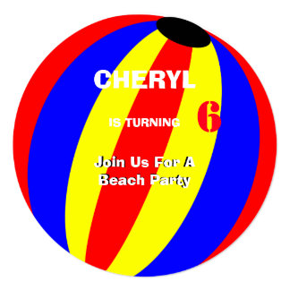 Fun Summer Beach Ball Personaliized Card