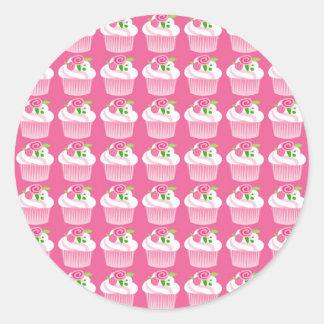 Fun Summer Birthday Hot Pink Cupcake Pattern Classic Round Sticker