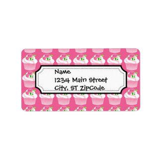 Fun Summer Birthday Hot Pink Cupcake Pattern Label