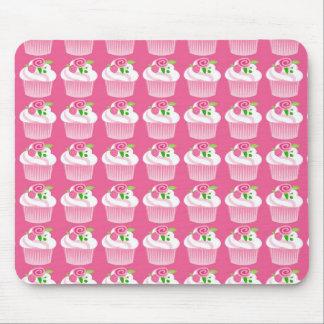 Fun Summer Birthday Hot Pink Cupcake Pattern Mouse Pads