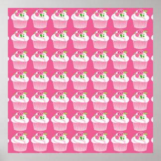 Fun Summer Birthday Hot Pink Cupcake Pattern Print