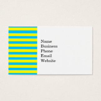 Fun Summer Bright Yellow and Teal Blue Stripes Business Card